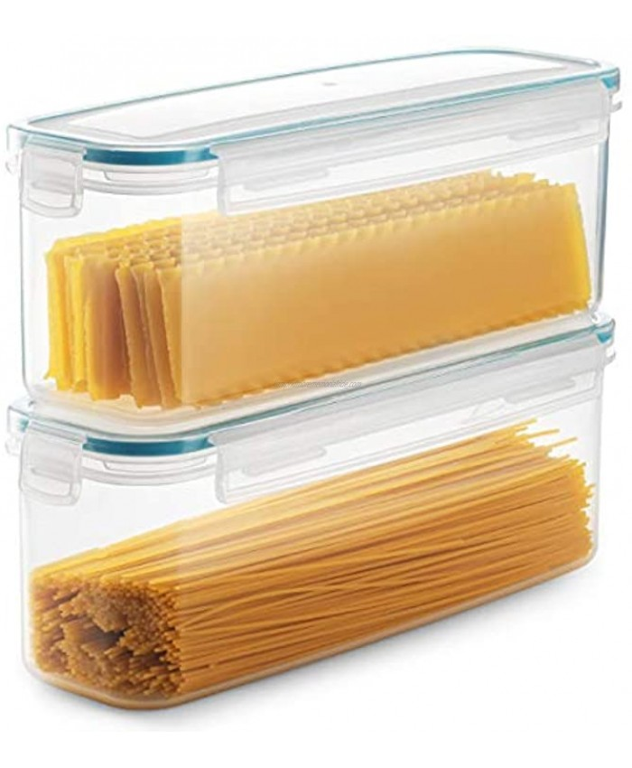 Komax Biokips Set of 2 Pasta Storage Containers   77.8-oz Rectangular Pasta Containers   Airtight Spaghetti Container Storage With Locking Lids   BPA-Free Pasta Canister Set   Dishwasher Safe