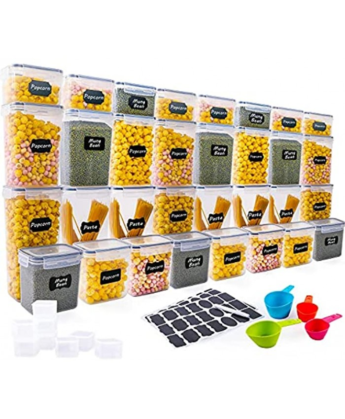 40 Pack Airtight Food Storage Container Set XPCARE Kitchen & Pantry Organization Plastic Canisters with Durable Lids Ideal for Cereal Flour & Sugar Labels Marker & Spoon Set,BPA-Free 5 Size