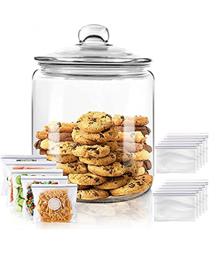 Airtight Glass Jar,Cookie Candy Penny Jar with Leak Proof Rubber Gasket Lid,1 Gallon Clear Round Big Household Multifunctional Storage Container with Silicone Reusable Food Bag for Cookies Candies