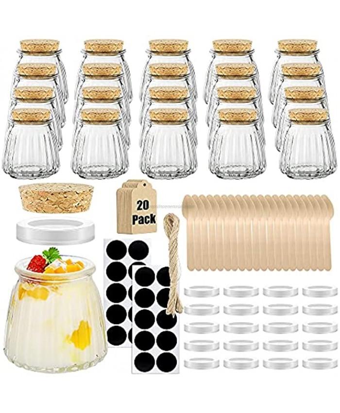 Folinstall 20 Pcs 4 oz Small Spices Glass Jars with Lids,Yogurt Jar,Favors jar for Candle Making,Honey,Bath Salts,Party Wedding,Baby Shower