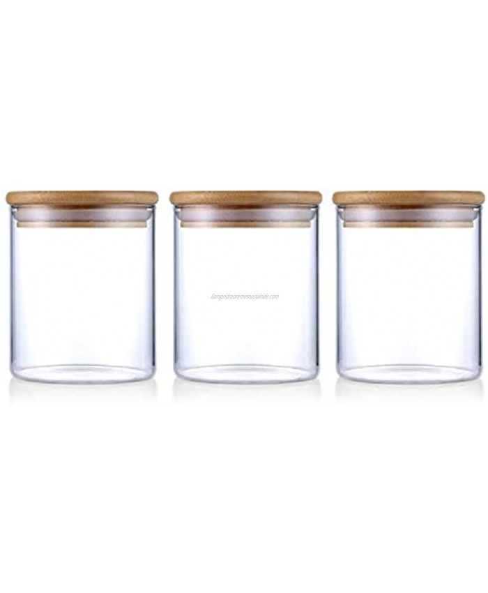 Glasss Coffee and Sugar Canister Set ZDZDZ Airtight Glass Storage Food Jars with Bamboo Lids Kitchen Canisters Set of 3 500ML 16oz