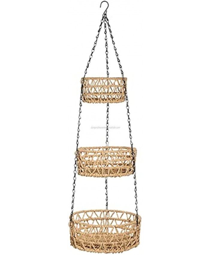 G.a HOMEFAVOR 3-Tier Hanging Fruit Basket Paper Rope Woven Vegetable Storage and Fruit Organizer Kitchen Countertop Space Saver Chain Adjustable Beige