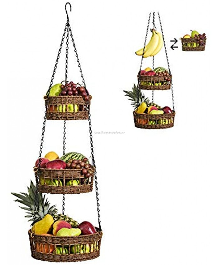 Hanging Fruit Basket 3 Tier Free Up Countertop Wicker Vegetable Storage and Fruit Organizer Saves Space Macrame Hanging Baskets for Kitchen with Banana Holder Carries 20lb Brown