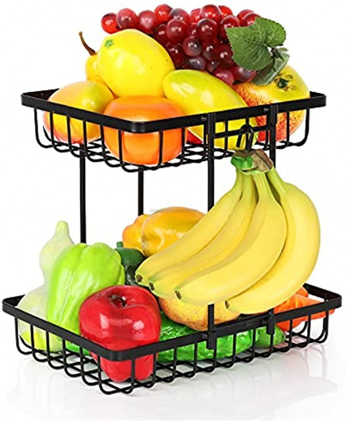 LIDYUK 2-Tier Countertop Fruit Basket Bowl Storage with Banana Hanger Vegetables Fruit Holder Stand with Screw Free for Kitchen Counter Pantry Cabinet Black