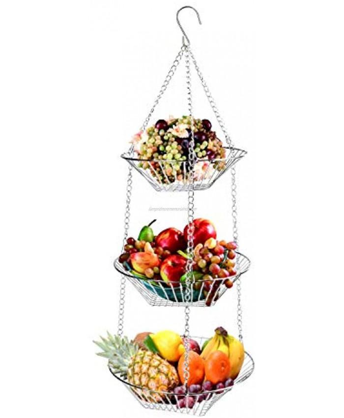 Tebery 3-Tier Chrome Hanging Basket Heavy Duty Wire Fruit Organizer with Hooks