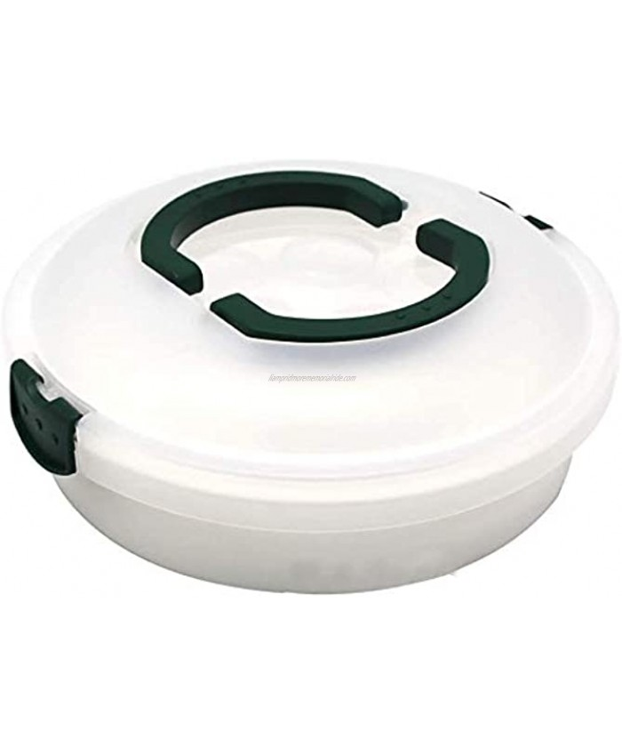 10 Inch Portable Pie Carrier with Lid and Tray 3-In-1 Round Cupcake Container Egg Holder Muffin Tart Cookie Keeper Food Green
