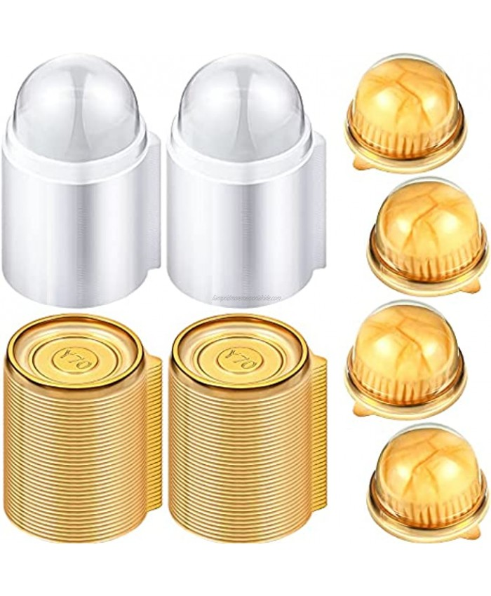 150 Sets Clear Plastic Mini Cupcake Container Clear Plastic Mini Cupcake Boxes Dome Muffin Single Container Box for Cheese Pastry Dessert Mooncake Gold