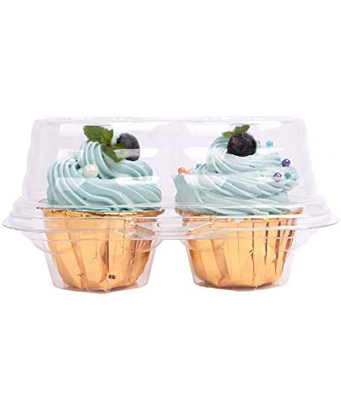 50 packs 2 Cupcake Containers- Brand HUANXIN Clear Disposable Cupcake Container Holder Carrier with 2 Compartments and Dome Lid-BPA-Free2 Cavity-50Pack