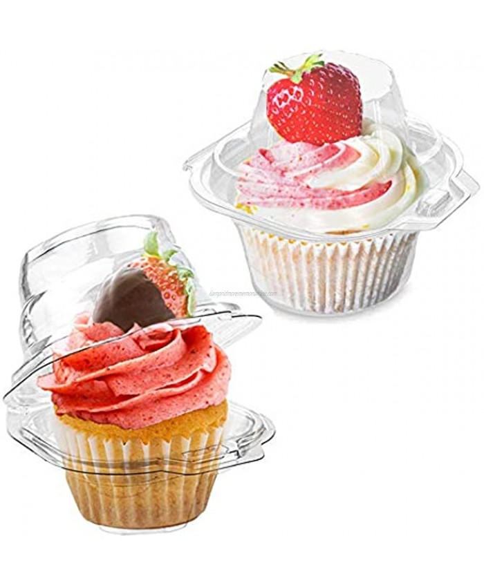 LOKQING Plastic Individual Cupcake Containers Single Cupcake Boxes with Connected Airtight Dome Lid50 PACK