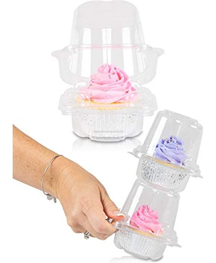 Stack'nGo Cupcake Containers Bulk Pack | plastic disposable cup cake boxes carrier holder box 100 Carriers 1 Single Serve