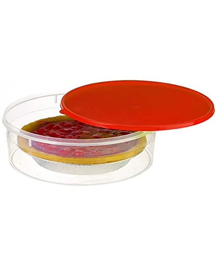 """Zilpoo Plastic Pie Keeper with Lid 10.5"""" Christmas Cupcake Carrier Muffin Cookie Cake Holder Round Food Storage Container with Cover Red"""