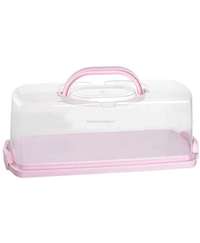 Portable Plastic Rectangular Loaf Bread Box with Transparent Lid Bread Keeper for Carrying and Storing Loaf Cakes,Banana Bread,Pumpkin Bread,Quick Breads Pink 1 Pack