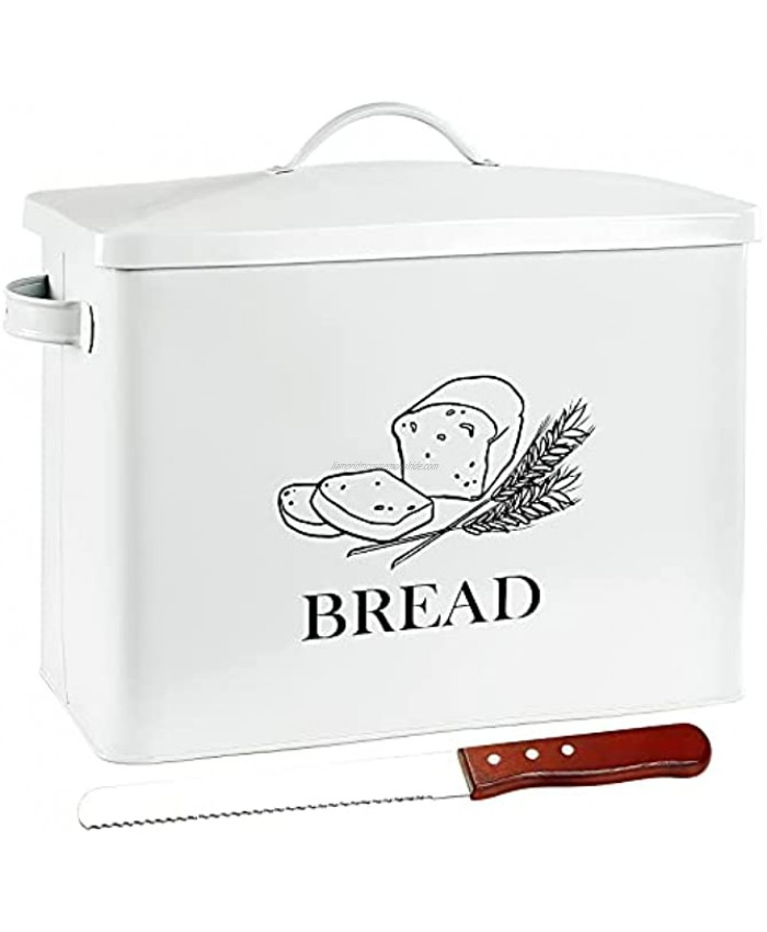 POZIEA Extra Large Farmhouse Bread Box with Bread Knife Bread Storage for Kitchen Countertop Holds 2+ Loaves of Bread Metal Storage to Keep Bread Cookies Bagels Rolls Fresh White