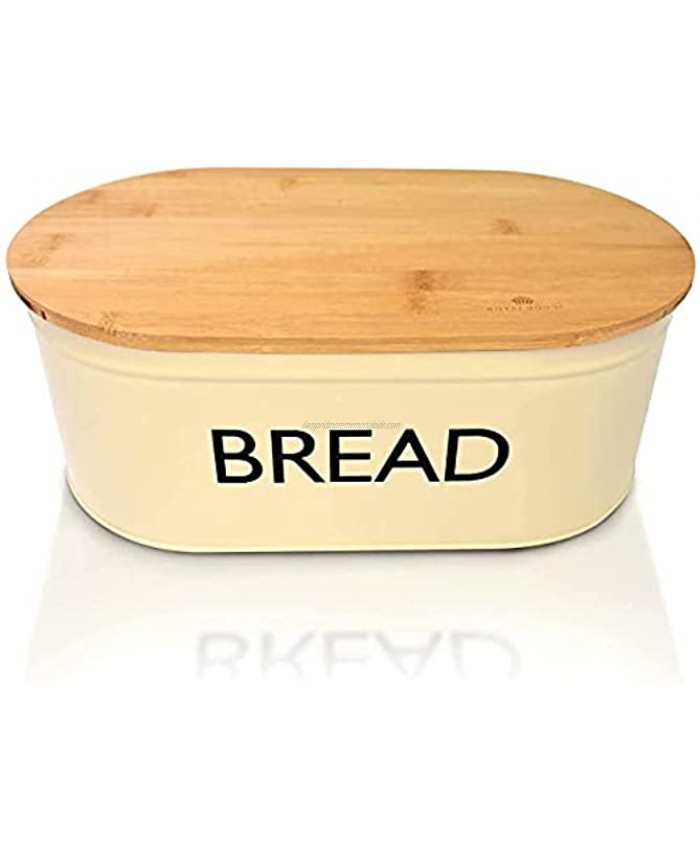 RoyalHouse Premium Metal Bread Box with Bamboo Lid Bread Storage Bread Container for Kitchen Counter Kitchen Decor Vintage Kitchen