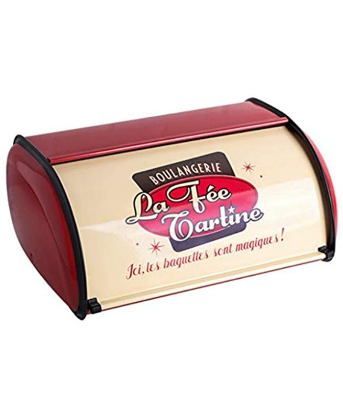 Sziqiqi Vintage Bread Box Storage Countertop Bread Bin Retro 33cm 13in with Roll-top and Protective Trim for Keeping Bread Buns Cookies Muffins Bread Container Red