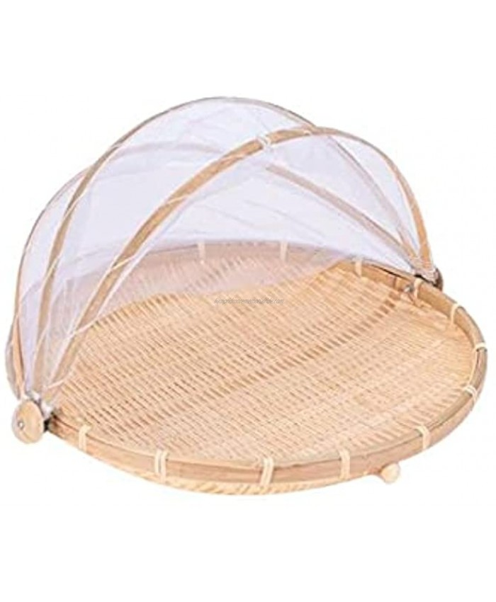 Xshelley round bamboo tent basket with lid vegetables fruits bread storage basket 11.8 inches in diameter