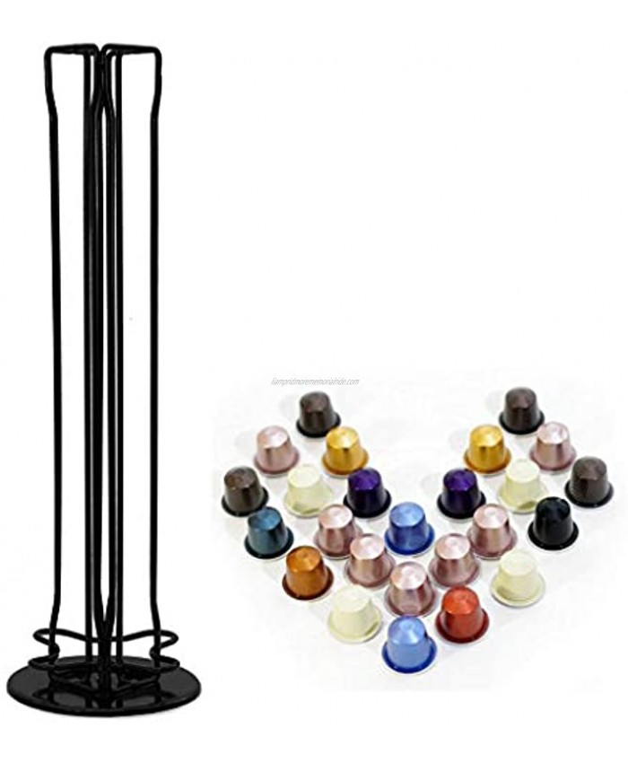 Coffee Pod Holder Stainless Steel Coffee Cup Holder Compatible with Nespresso capsules 360-Degree Rotatable Coffee Capsules Storage Capsule Holder Tower Stand for 40 capsules Black