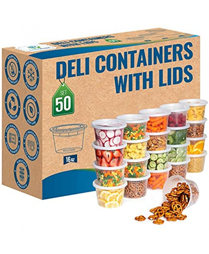 Safeware 16oz [50 Sets] Deli Plastic Food Storage Containers with Airtight Lids Great for Slime Soup Portion Control and Meal Prep | Microwave | Dishwasher | Freezer Safe | Leakproof | Stackable