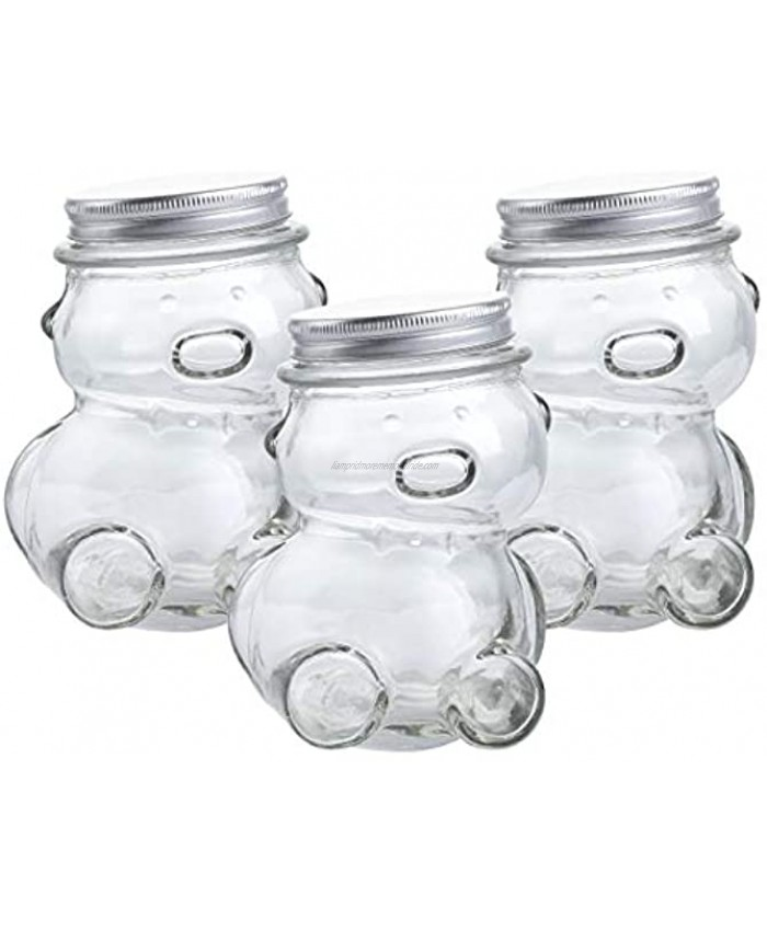 KMwares 10 OZ 3-Pack Decorative Teddy Bear Shaped Clear Glass Jar with lids for Cookie Candy Wish Star Storage DIY Crafts Bottle Kids Room Party Office Decoration