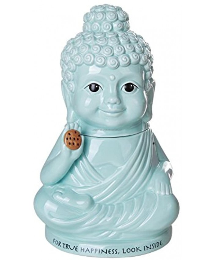 Pacific Giftware Meditation Buddha Happiness Inside Ceramic Cookie Jar Functional Kitchen Decor 8 Inch Tall
