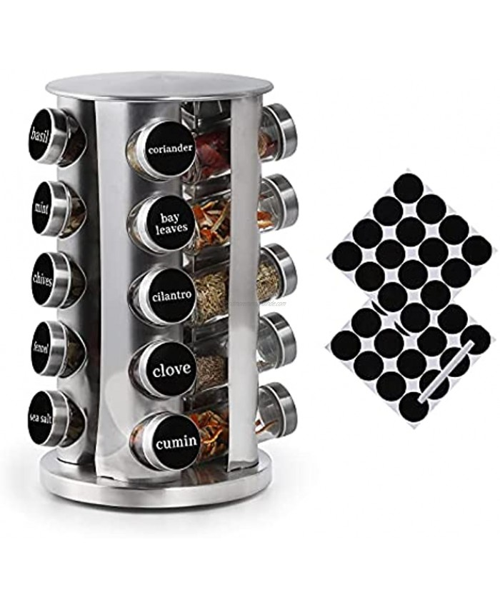 DOUBLE2C Spice Rack Organizer for Countertop Revolving Stainless Steel Seasoning Storage Organization Spice Carousel Tower for Kitchen Set of 20 Jars
