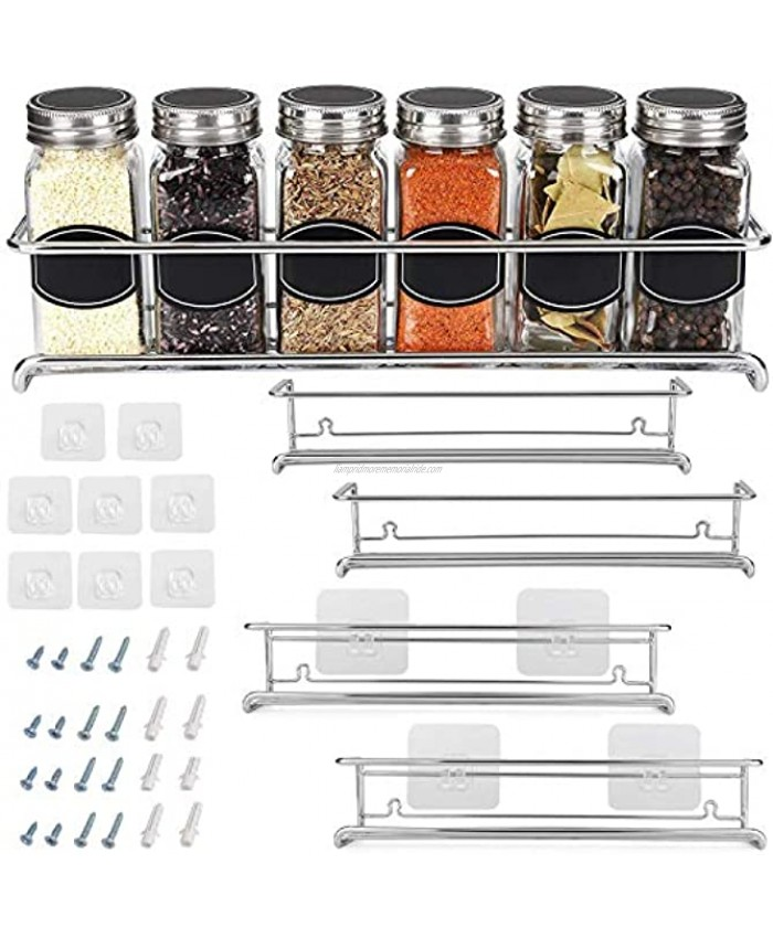 Spice Rack Organizer For Cabinet Door  Kitchen Pantry Organization And Storage   Set of 4 Chrome Tiered Hanging Shelf for Spice Jars and Seasonings   Door Mount Wall Mounted Under Sink Shelves