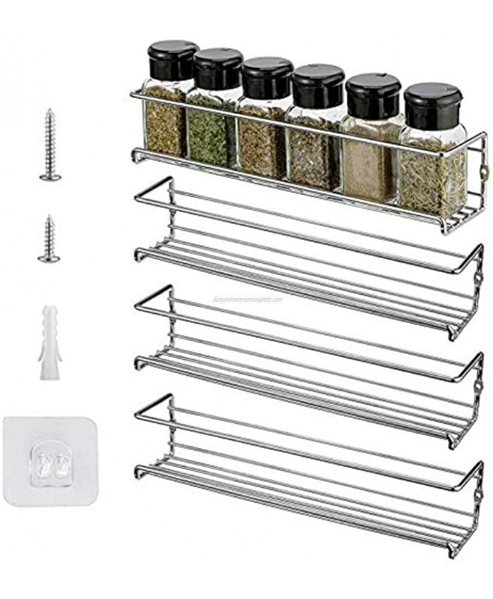 X-Chef Spice Rack Wall Mount 4 Hanging Spice Racks Spice Organizers for Cabinet Pantry Door Kitchen Cupboard Seasoning Storage Spice Shelf Chrome Finished