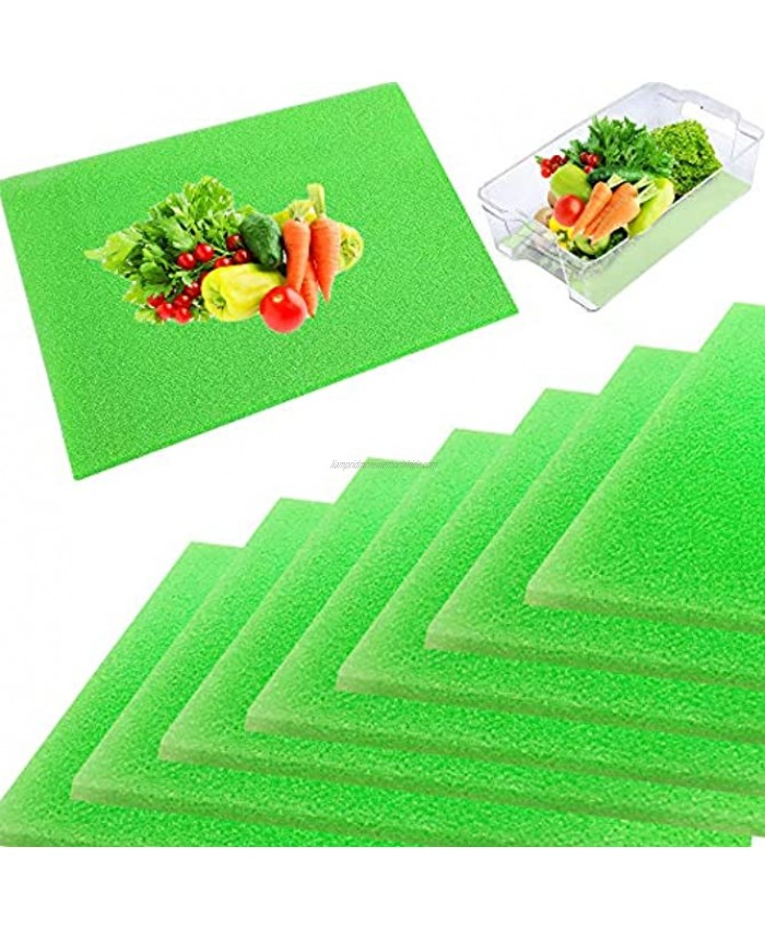8 Pieces Fruit and Veggie Life Extender Liner,15 x 12 Inch Refrigerator Shelf Liners,Produce Saver Washable Life Extender Foam Mats for Fridge Refrigerator Drawers
