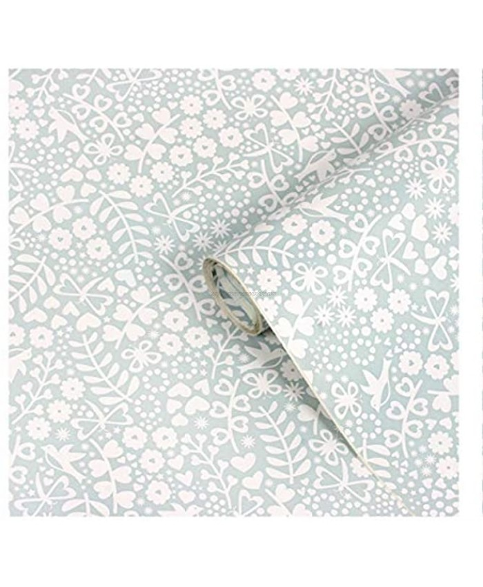 Ditsy Floral Pattern Self-Adhesive Vinyl Contact Paper for Shelf Liner Drawer Liner and Arts and Crafts Projects 9 Feet by 18 Inches Powder Blue