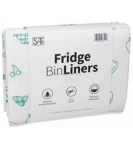 S&T INC. Fridge Bin & Shelf Liners 12 x 24 Fruits Print 5 Pack