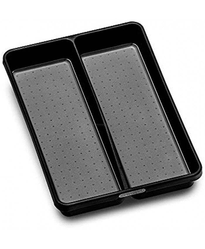 madesmart Utensil Tray-CARBON COLLECTION 2 Compartments Soft-Grip Lining & Non-Slip Feet & BPA-Free Small