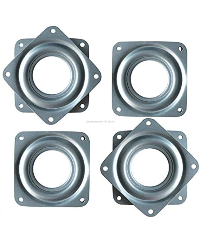 4 Pack 3 Inch Square Lazy Susan Turntable Bearings Hardware Small Rotating Bearing Plate with 150 Pound Capacity Silver