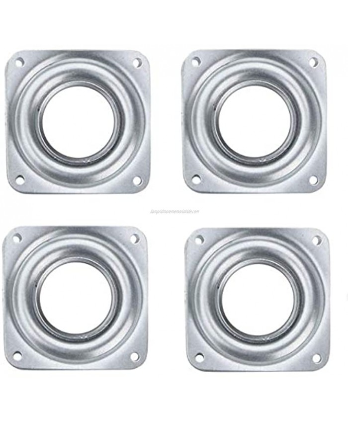 Dailydanny 4 PCs Heavy Duty Square Lazy Susan Turntable Bearings Rotating Bearing Plate 3 inch Silvery