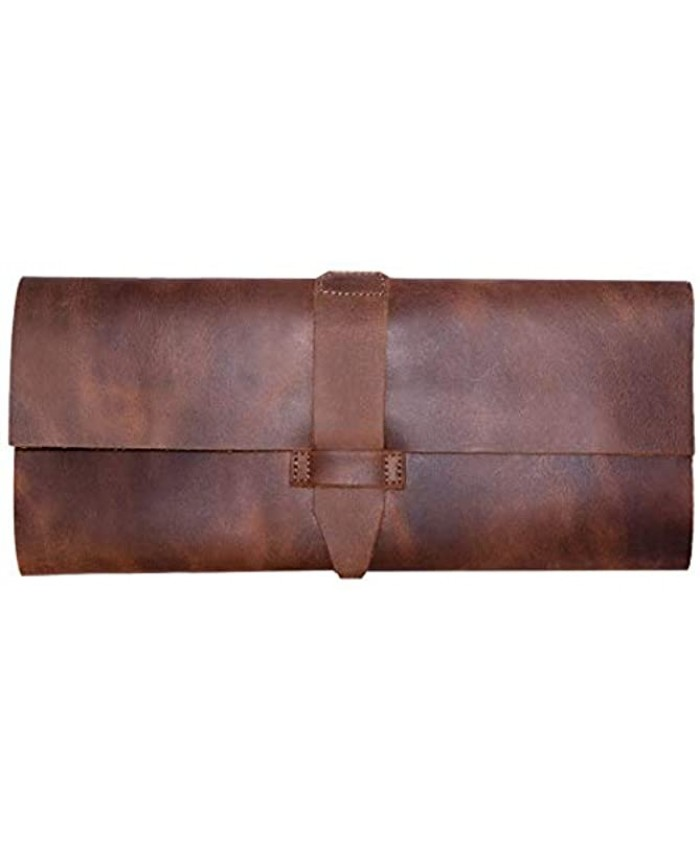 Hide & Drink Leather Cutlery Cover For Restaurants Cafés Home & Office Organizer Traveling Camping Fork & Knife Handmade :: Bourbon Brown