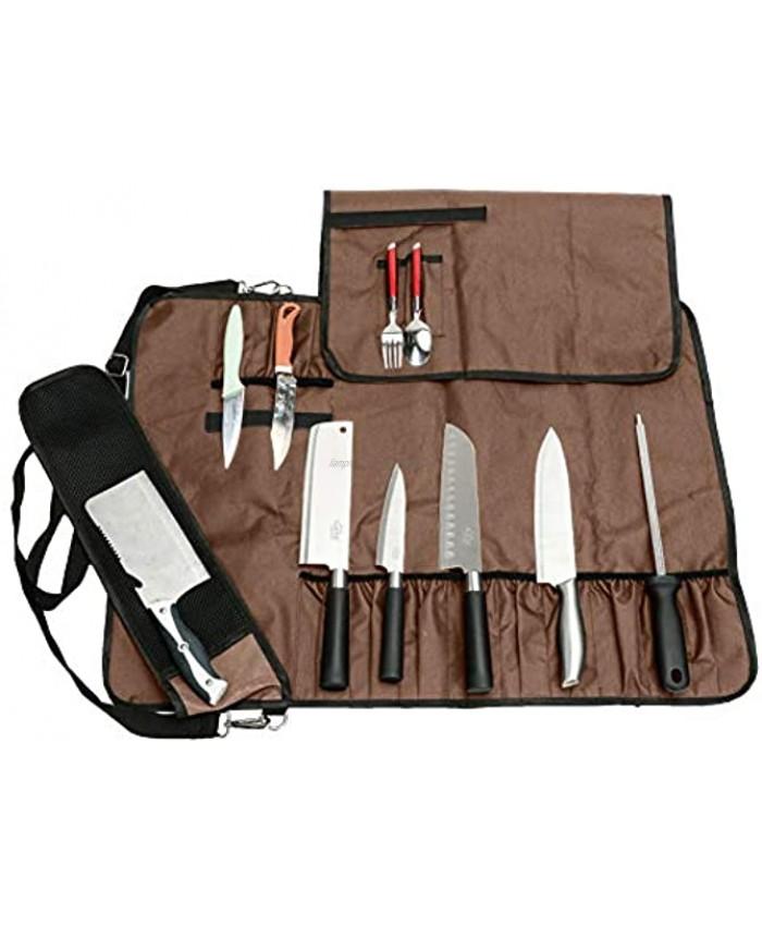 QEES Chef's Knife Bag 17 Slots Portable Knife Roll Bag with Shoulder Chef Bag for Men Black Kitchen Knife Bag DD14 Brown