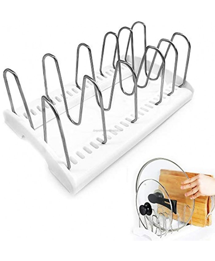 KLEVERISE Pot and Lid Rack Pan Organizer Lid Holder Adjustable Stainless-Steel Dividers for Kitchen Cabinets Counter Tops Store Cutting Boards Cookware Bakeware Dishes Bowls