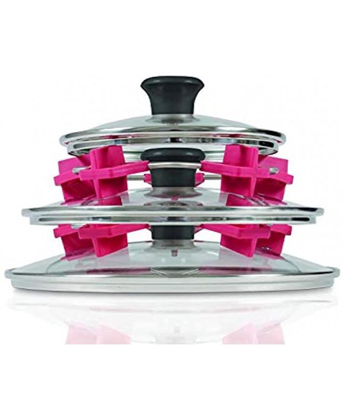 Set of 2 Lid Stacker – Pot Lid Organizer for Pots and Pans – Size Adjustable Pot Lid Rack Pot Lid Holder