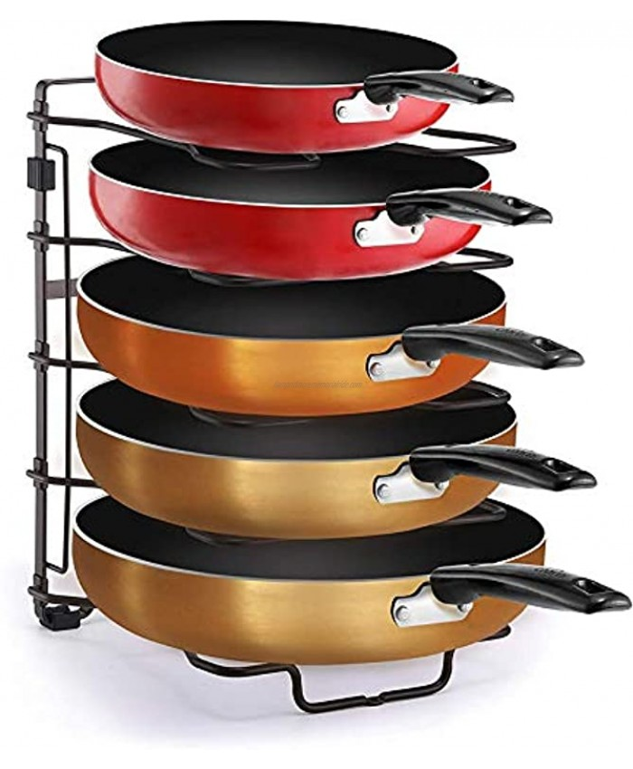 Simple Trending Adjustable Pan and Pot Lid Organizer Rack Holder Kitchen Counter and Cabinet Organizer Bronze