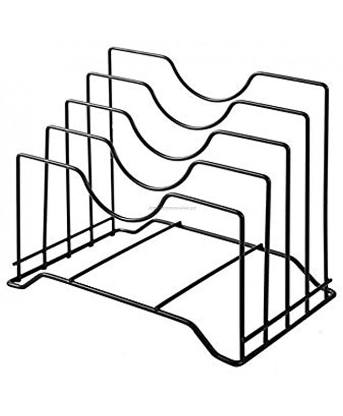 Stainless Iron Cutting Board Holder Cutting Board Storage Organizer  Pot Lid Rack Organizer Kitchen Cabinet Rack Storage with 4 Sectional Black
