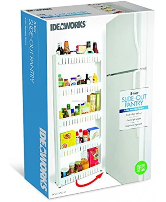 Handy Gourmet Mobile Shelving 5 Tier Slim Storage Tower for Kitchen Bathroom