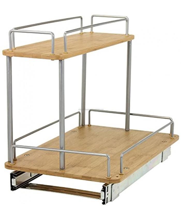 Household Essentials 1265B-1 Glidez Under Sink Sliding Organizer   Pull Out Cabinet Shelf   Wood   11.5 Inches Wide