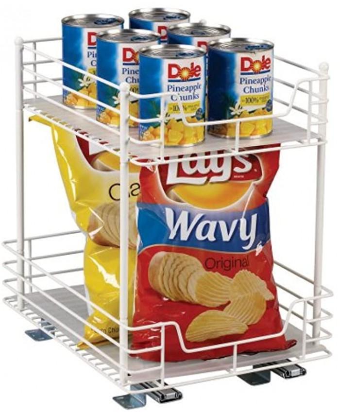 Household Essentials Glidez Double Basket Sliding Cabinet Organizer White