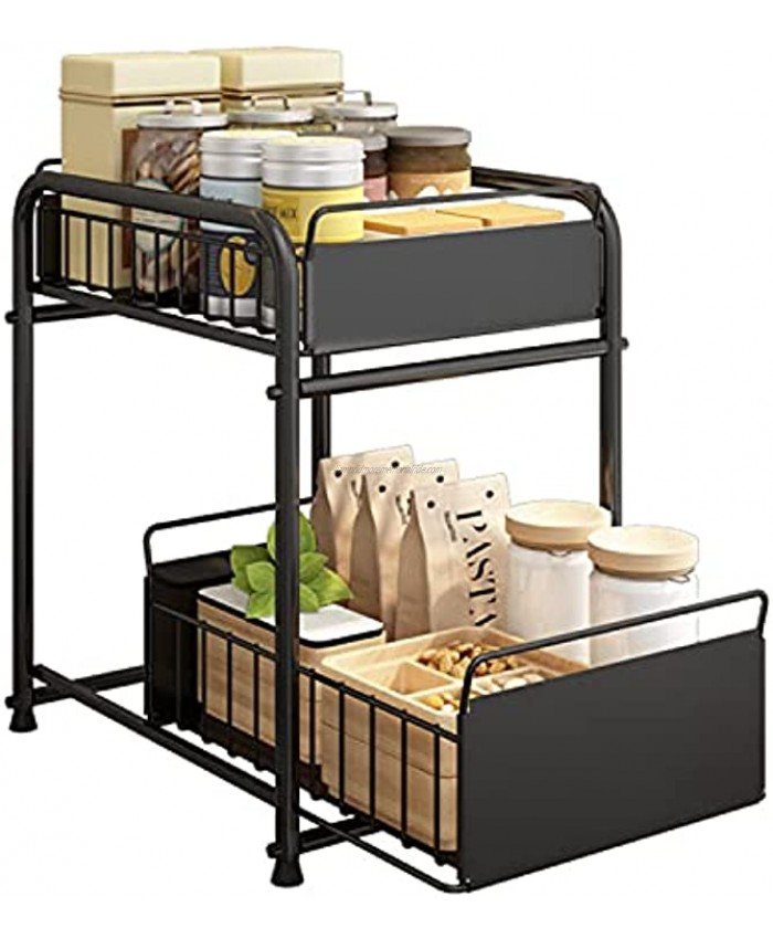 Simple Gear Heavy Duty 2-Tier Under Sink Cabinet Organizers with Sliding Storage Drawer Steel Shelf Basket Holds up to 150lbs for Kitchen Bathroom Cabinet or Pantry Black
