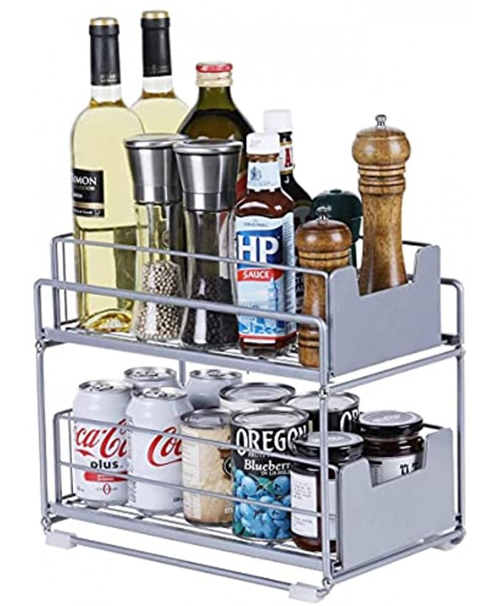 Stainless Steel 2-Tier Under Sink Cabinet Organizers with Sliding Storage Drawer Heavy duty Sliding Shelf Basket Holds up to 150lbs for Kitchen Bathroom Cabinet or Pantry Silver