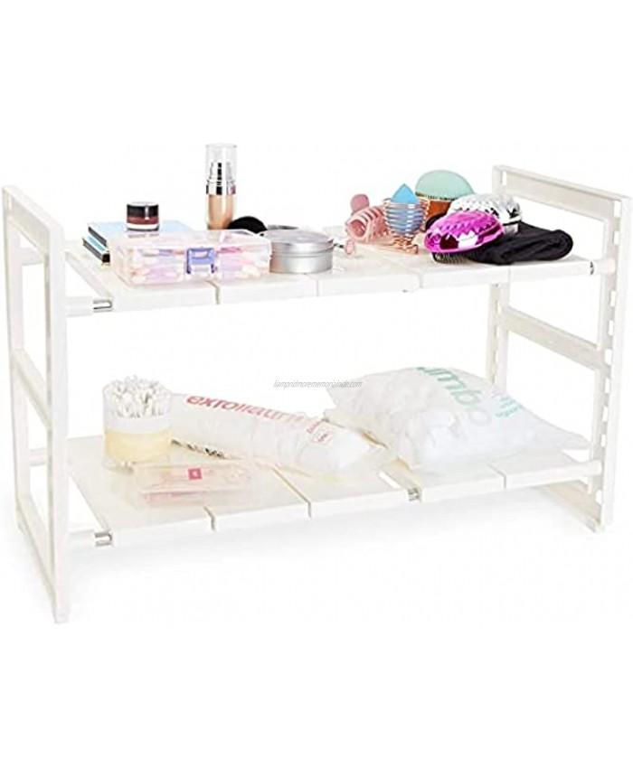 2 Tier Under Sink Organizer Kitchen Cabinet Storage White 24.7 x 10.8 x 15.5 In