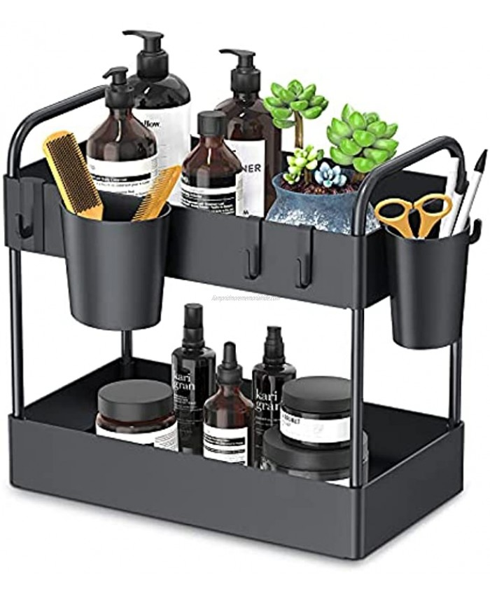 FURTIME Under Sink Organizer 2 Tier Kitchen Under Sink Storage Bathroom Countertop Organizer with 6 Hooks 2 Hanging Cups and Anti-Foot for Bathroom Kitchen Spice Makeup Cosmetics Vanity Narrow Space