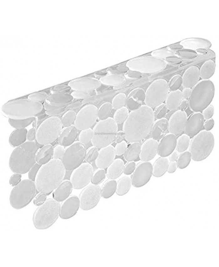 mDesign Decorative Plastic Kitchen Sink Saddle Divided Sink Protector Mat Place Over Middle Section Quick Draining Fun Bubble Design Clear