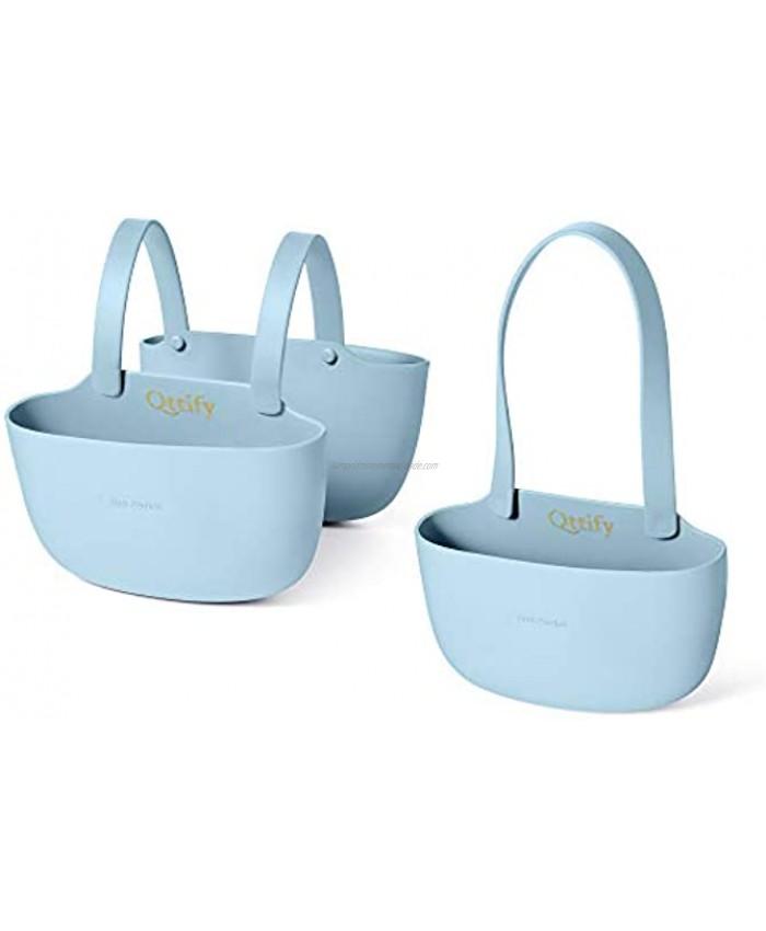 Qttify Sink Sponge Holder Hanging Sink Caddy Sponge Holder Sink Saddle Sponge Caddy for Kitchen Sink Basket for Sponges Light Blue