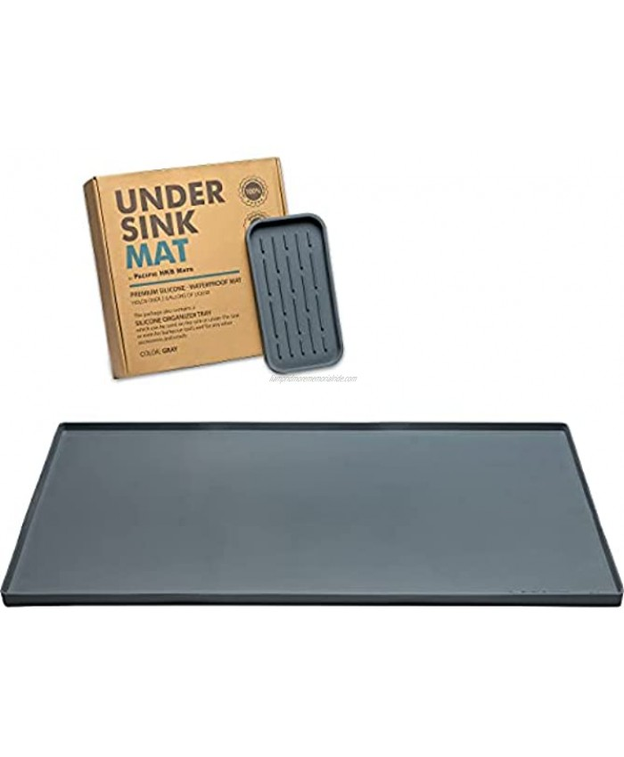 """Under Sink Mat for Kitchen Cabinet Waterproof Silicone Mat Holds over 2 gallons Under Sink Liner for Leaks Drips Spills Easy to clean Size 34.25""""x22"""" with Organizer Tray by PHKBM Grey"""
