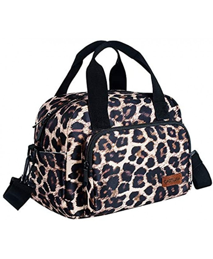 Womens Lunch Bags,Insulated Lunch Box Cooler Thermal Bag with Detachable Shoulder Strap Leopard